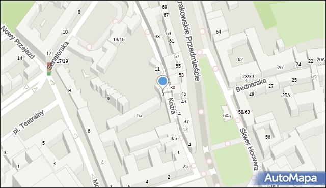 Warszawa, Kozia, 7, mapa Warszawy