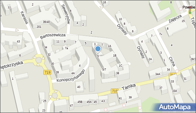 Warszawa, Konopczyńskiego Emiliana, 3, mapa Warszawy