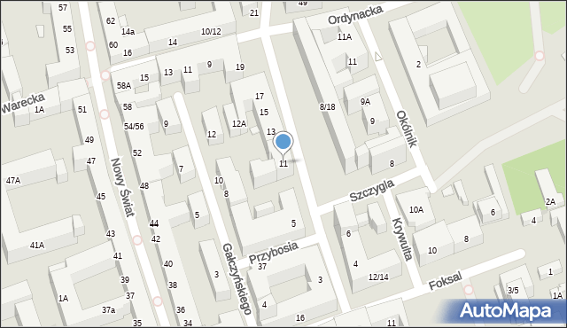 Warszawa, Kopernika Mikołaja, 11, mapa Warszawy