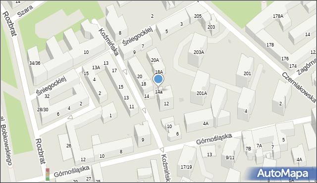 Warszawa, Koźmińska, 14a, mapa Warszawy