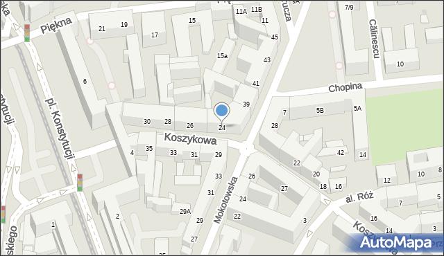 Warszawa, Koszykowa, 24, mapa Warszawy