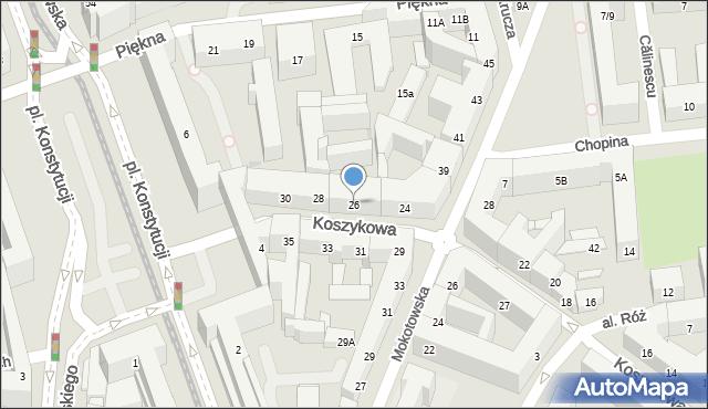 Warszawa, Koszykowa, 26, mapa Warszawy