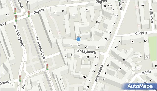 Warszawa, Koszykowa, 28, mapa Warszawy