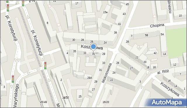 Warszawa, Koszykowa, 31, mapa Warszawy