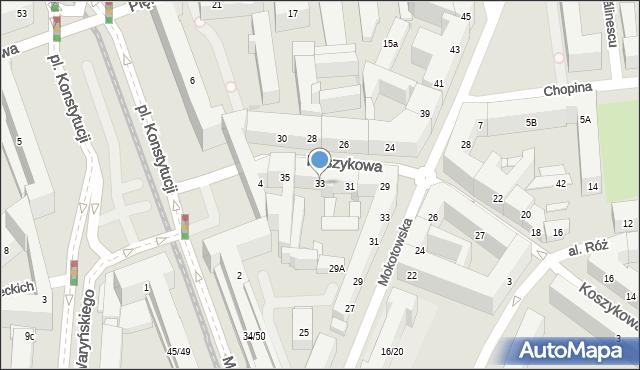 Warszawa, Koszykowa, 33, mapa Warszawy