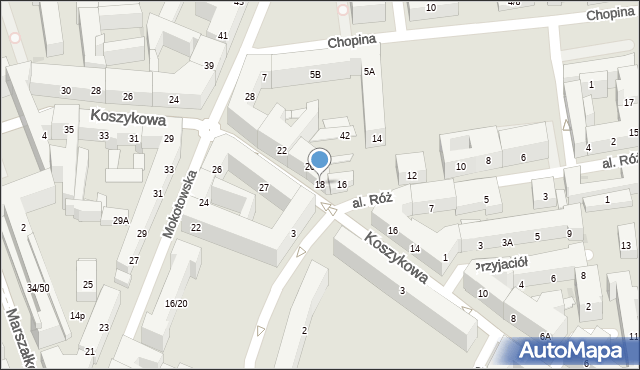 Warszawa, Koszykowa, 18, mapa Warszawy