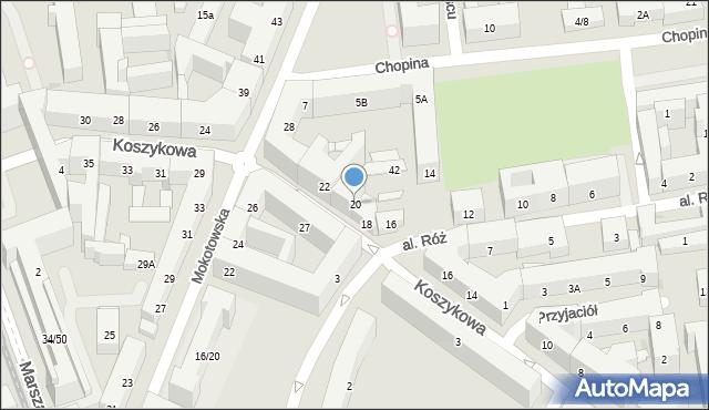 Warszawa, Koszykowa, 20, mapa Warszawy