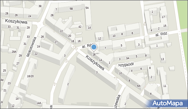 Warszawa, Koszykowa, 16, mapa Warszawy