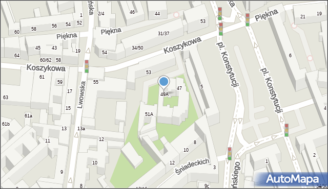 Warszawa, Koszykowa, 49A, mapa Warszawy