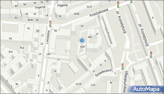 Warszawa, Koszykowa, 51A, mapa Warszawy