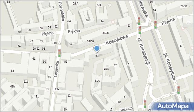 Warszawa, Koszykowa, 53, mapa Warszawy