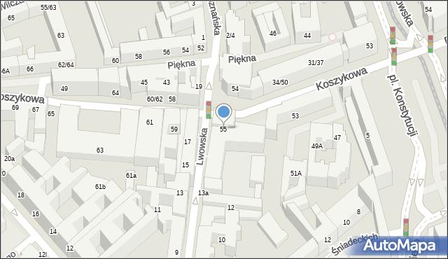 Warszawa, Koszykowa, 55, mapa Warszawy