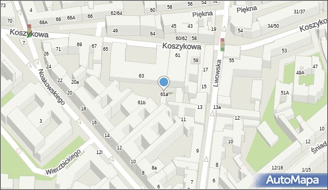 Warszawa, Koszykowa, 61a, mapa Warszawy