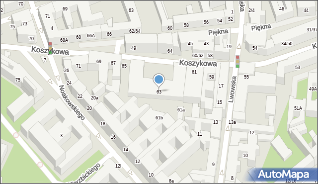 Warszawa, Koszykowa, 63, mapa Warszawy