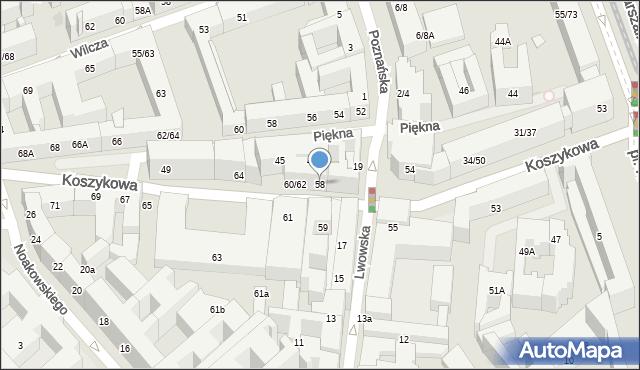 Warszawa, Koszykowa, 58, mapa Warszawy