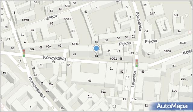 Warszawa, Koszykowa, 64, mapa Warszawy