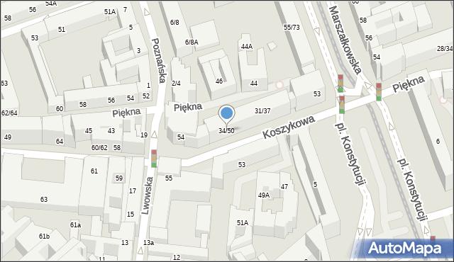Warszawa, Koszykowa, 34/50, mapa Warszawy