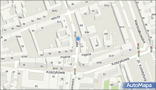 Warszawa, Koszykowa, 54b, mapa Warszawy
