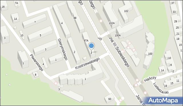 Warszawa, Kostrzewskiego Franciszka, 2, mapa Warszawy