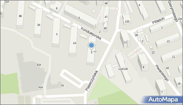 Warszawa, Konduktorska, 1, mapa Warszawy