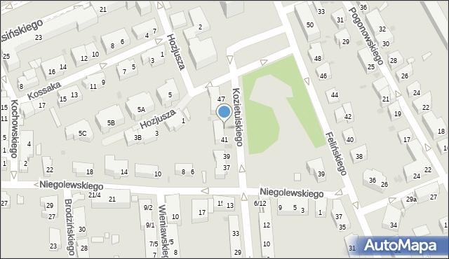 Warszawa, Kozietulskiego Jana Leona, płk., 43, mapa Warszawy