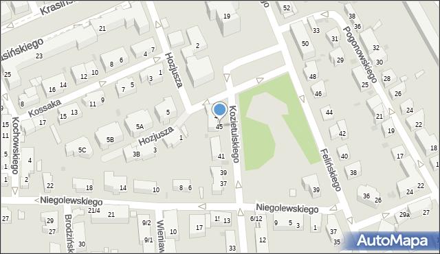 Warszawa, Kozietulskiego Jana Leona, płk., 45, mapa Warszawy