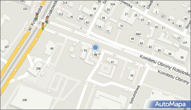 Warszawa, Komitetu Obrony Robotników, 59, mapa Warszawy