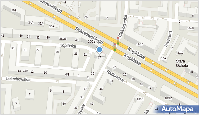 Warszawa, Kopińska, 17, mapa Warszawy
