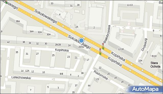 Warszawa, Kopińska, 20/22, mapa Warszawy
