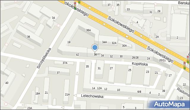 Warszawa, Kopińska, 36, mapa Warszawy