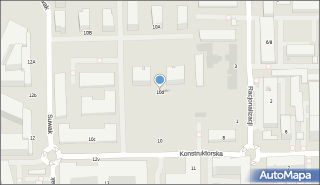 Warszawa, Konstruktorska, 10d, mapa Warszawy