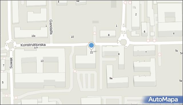 Warszawa, Konstruktorska, 11, mapa Warszawy