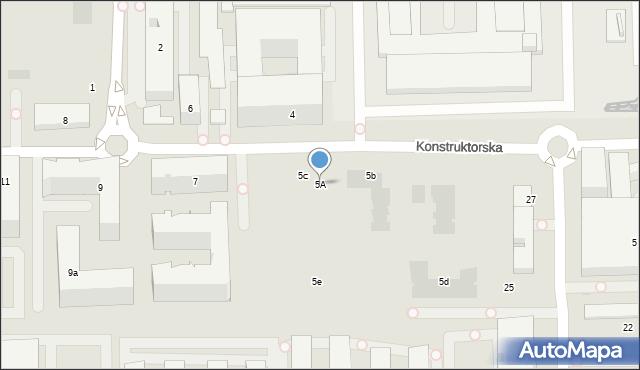 Warszawa, Konstruktorska, 5A, mapa Warszawy