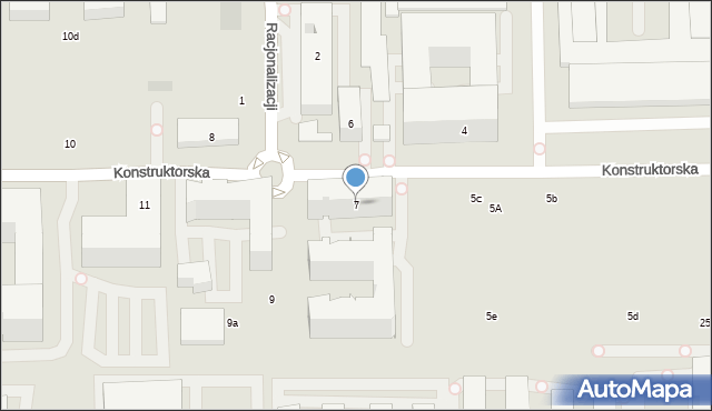 Warszawa, Konstruktorska, 7, mapa Warszawy