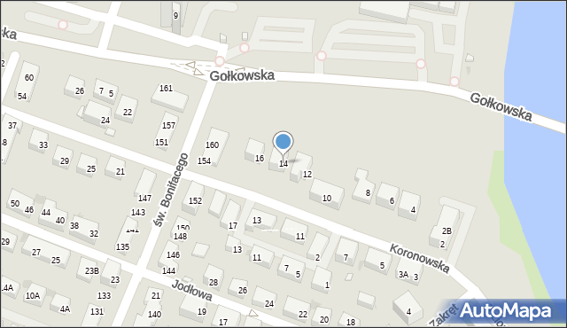 Warszawa, Koronowska, 14, mapa Warszawy