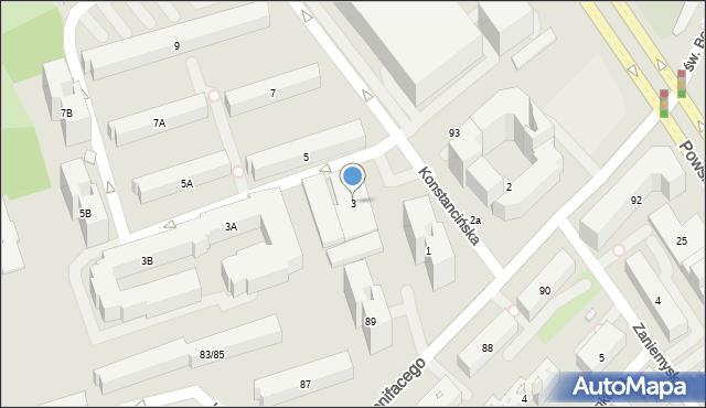 Warszawa, Konstancińska, 3, mapa Warszawy