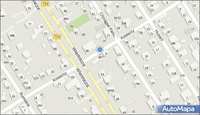 Warszawa, Kosiarzy, 9A, mapa Warszawy