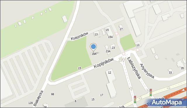 Warszawa, Kopijników, 19A, mapa Warszawy