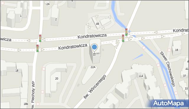 Warszawa, Kondratowicza Ludwika, 22, mapa Warszawy