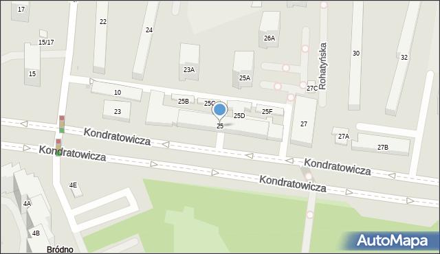 Warszawa, Kondratowicza Ludwika, 25, mapa Warszawy