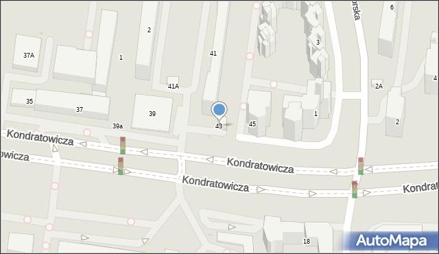 Warszawa, Kondratowicza Ludwika, 43, mapa Warszawy