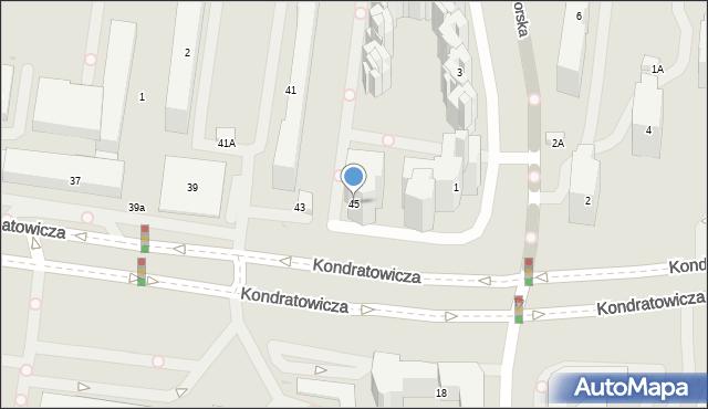 Warszawa, Kondratowicza Ludwika, 45, mapa Warszawy