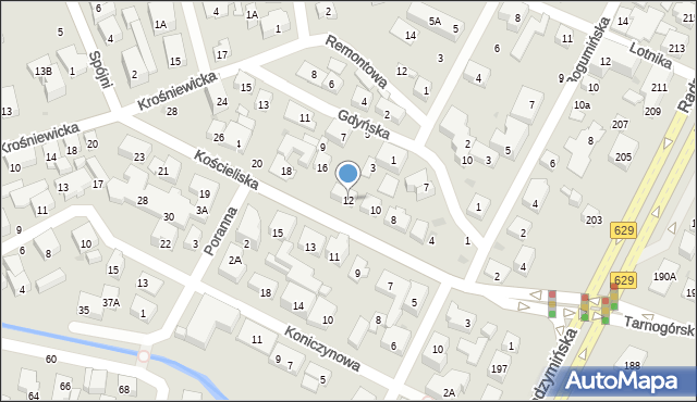 Warszawa, Kościeliska, 12, mapa Warszawy