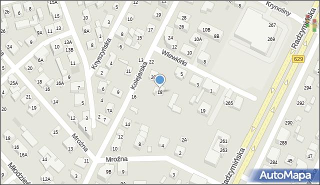 Warszawa, Kolejarska, 18, mapa Warszawy