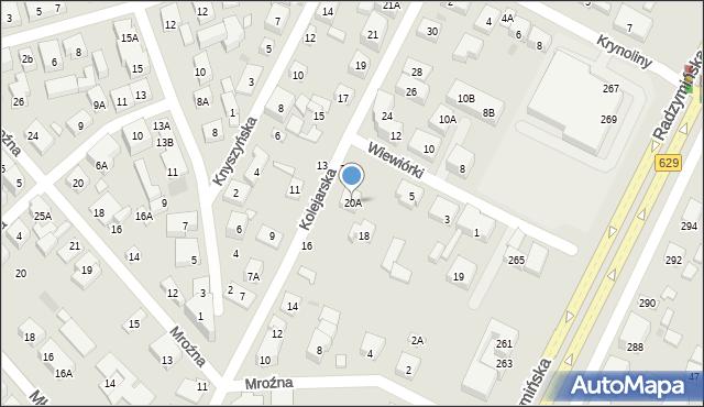 Warszawa, Kolejarska, 20A, mapa Warszawy