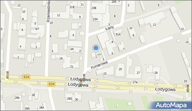 Warszawa, Konarowa, 1, mapa Warszawy