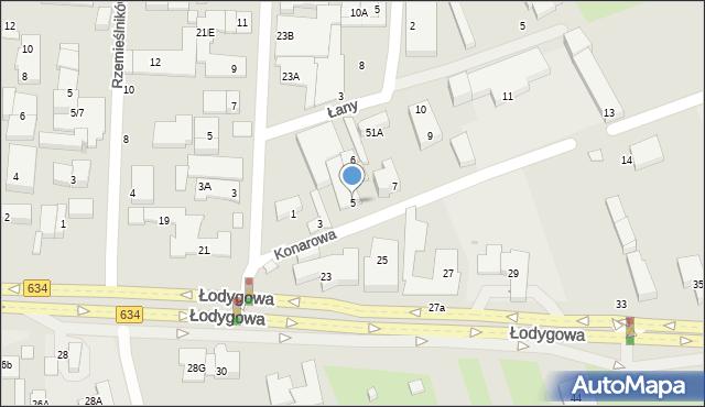 Warszawa, Konarowa, 5, mapa Warszawy