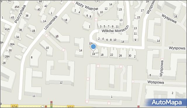 Warszawa, Korsarska, 14, mapa Warszawy