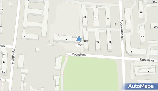 Warszawa, Kobielska, 100m, mapa Warszawy