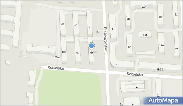 Warszawa, Kobielska, 96, mapa Warszawy